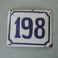 Old enamel sign number 198