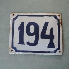 Old enamel sign number 194