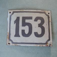 Old enamel sign number 153