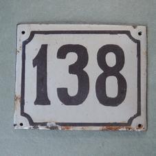 Old enamel sign number 138