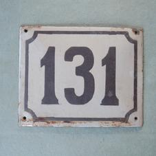 Old enamel sign number 131