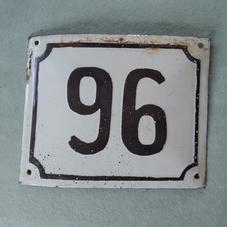 Old enamel sign number 96