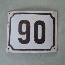 Old enamel sign number 90