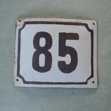 Old enamel sign number 85