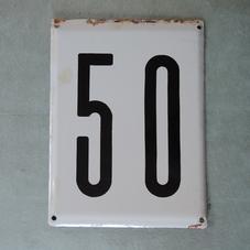Big old enamel sign number 50