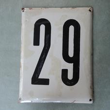 Big old enamel sign number 29