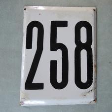 Big old enamel sign number 258