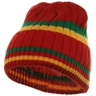 Stripe Ribbed Beanie Green Yellow