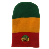 Lion Green Yellow Red Embroidered Rasta Long Beanie