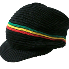 Rasta Visor Stripe Hat  Black
