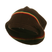 Medium Crown rasta Beanie Hat Brown