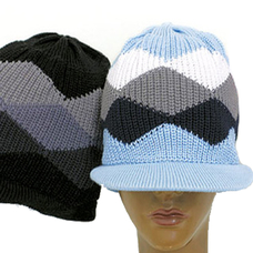 Rasta Beanie Visor Diamond - Black & Grey