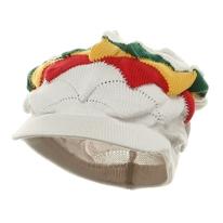 New Rasta Visor Hat - White / Olive Green