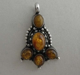 Pendant, 925 silver and amber