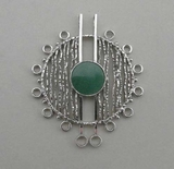 Pendant, silver and jade