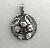 Pendant, silver and red stone