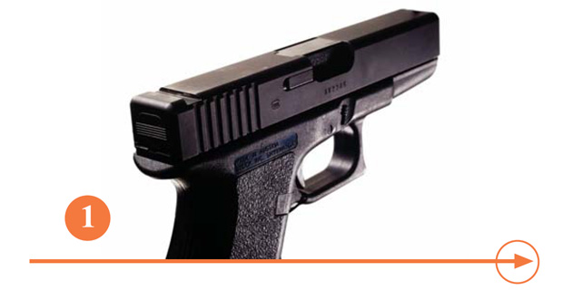 Remove the original rear sight. Glock provides a tool for this purpose, and any qualified gunsmith can easily perform this function.