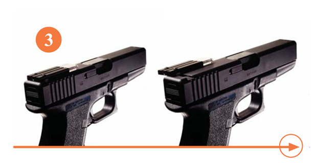 Insert the T.A.S. sight dovetail into the original mating groove on the pistol and slide the sight to a central position.