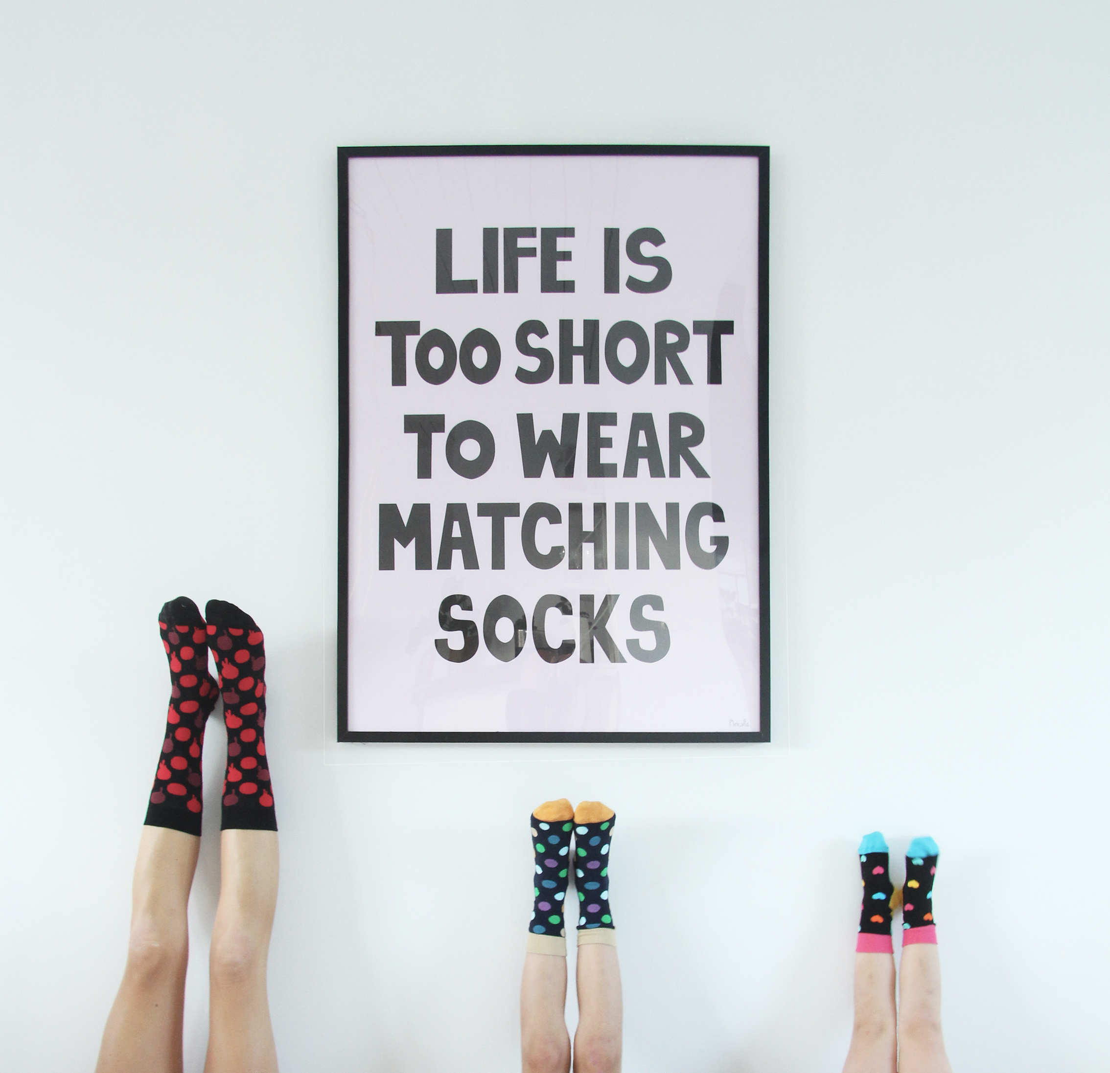 Miniwilla Life is too short to wear matching socks poster Happy Socks