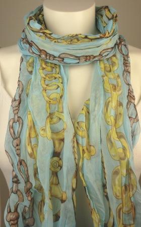 Krinklad scarves kedjemönster