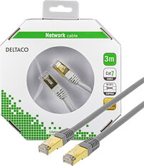 Deltaco S/FTP Cat7 patchkabel, 3m, grå
