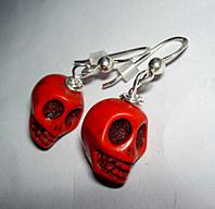 Skull earrings red