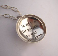 Bowl charm necklace with your words