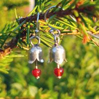 Earpiece silver flowerbell