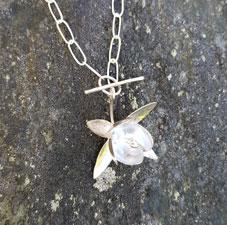Silver necklace - big fuchsia