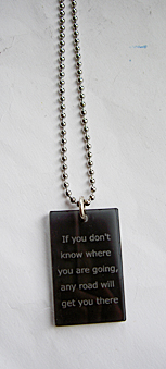 Necklace with black plexi tag