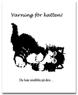 Vykort Varning för katten