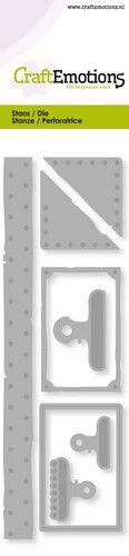 CE -  vintage label - paper clamps- rivets Card