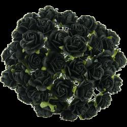 10 st rosor -jet black- 15 mm
