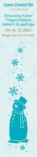 Leane Creatief - Embossing folder - border snowman