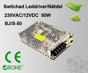 Switchad Leddriver/Nätdel 230VAC/12VDC 50W