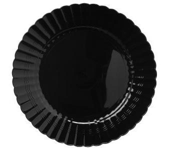 Round dinner/Buffet plate. Black. 18 pieces.