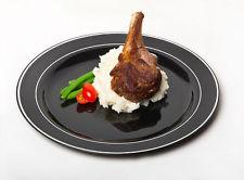 Rund svart middagstallrik med silverkant. 10 st.