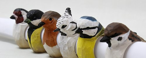 Napkin rings with Birds  Hand carved of wood.