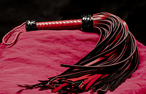 Leather Whip - 72-tailed Red/Black, Genuine