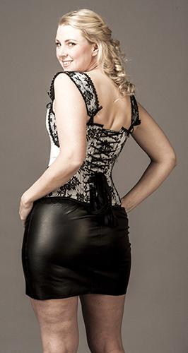 Overbust White Satin with Black Lace and Shoulder Straps