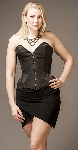 Overbust in a Victorian Style, Black Satin
