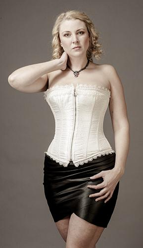 Overbust Brocade OffWhite Satin with Lace Edge