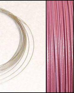 2,2m Wire 0,38mm: Puder ROSA + 20 SP klämpärlor