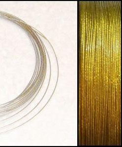 2,2m Wire 0,38mm: GoldenLime + 20 GP klämpärlor