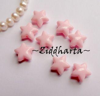 20st STAR Rosa / PINK Opaka Pärlor Dubbelsidig Plast- pärla med genomgående hål