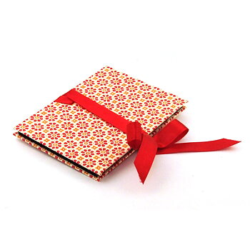 accordion brag book red orange flower stamps