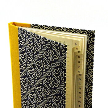 address book waxbatik blue yellow
