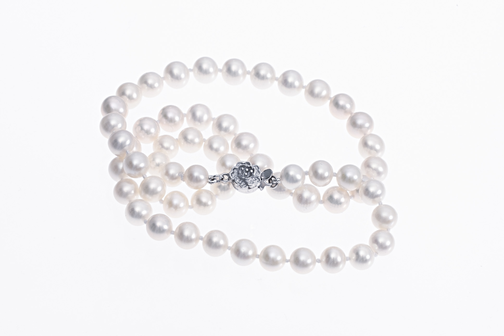 a437a27d6 Top-quality Freshwater cultured pearl necklace with silver clasp 7-8mm -  Julia's Pearls