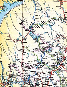 Karta över Sveriges Järnvägar och stationer 1914