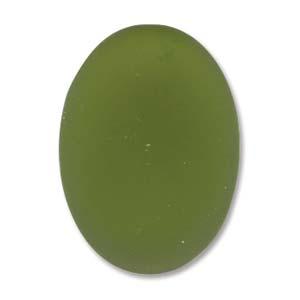 Lunasoft oval cab i färgen olive, 18,5*13,5 mm.